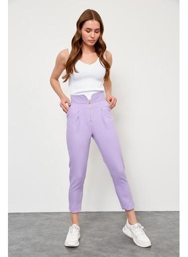 Setre Lila Yüksek Bel Fermuarlı Pantolon Lila